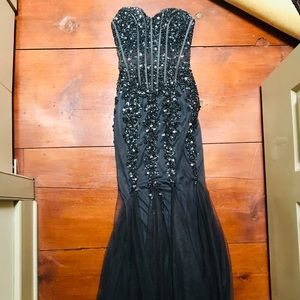 Jovani 00 strapless long dress gown black beads
